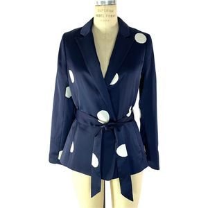 Boden Rhea Polka Dot Blazer Jacket Blue Belted
